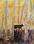 Essential Mixed Media Framed Prints - Wolf in the Birch Trees Framed Print by Laura Heilman