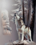 Wolf Giclee Prints Painting Originals - Wolf In the shadow of the Native culture by Gina Femrite