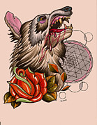 Sacred Geometry Drawings Posters - Wolf Poster by Matt Truiano