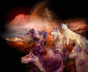 Animal Art Print Mixed Media - Wolf Mountain by Carol Cavalaris