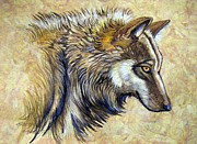 Amate Bark Paper Prints - Wolf Natural Beauty Print by Anne Shoemaker-Magdaleno