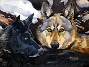Spencer Meagher Framed Prints - Wolf Pair Framed Print by Spencer Meagher