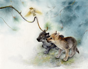 Wolf Painting Posters - Wolf Pups and Sparrow Poster by Tracy Herrmann