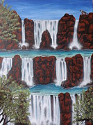 Waterfalls Paintings - Wolf Spirit Falls by Darren Robinson