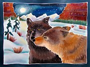 Yellowstone Painting Metal Prints - Wolf Talk Metal Print by Harriet Peck Taylor