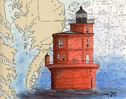 Map Art Painting Posters - Wolf Trap Lighthouse VA Nautical Chart Map Art Poster by Cathy Peek