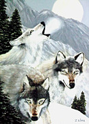Zelma Hensel Posters - Wolves Howling at the Moon Poster by Zelma Hensel