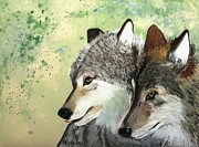 Wolves Pastels Framed Prints - Wolves Framed Print by Michele Turney