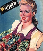 Ww2 Drawings Posters - Woman 1942 1940s Uk Land Girls Dig Poster by The Advertising Archives