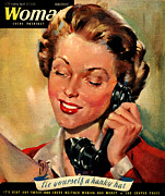 Twentieth Century Drawings Posters - Woman 1944 1940s Uk Womens Magazines Poster by The Advertising Archives