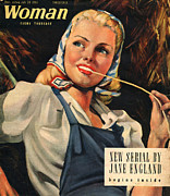 Ww2 Drawings Posters - Woman 1944 1940s Uk Womens Portraits Poster by The Advertising Archives