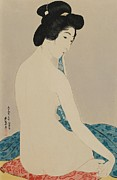 Cushion Posters - Woman After a Bath Taisho era Poster by Goyo Hashiguchi