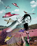 Jonathan Benitez Metal Prints - Woman and Birds Metal Print by Jonathan Benitez