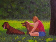Patrick Paintings - Woman and Her Dogs by Patrick ODriscoll