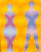 Op Art Painting Posters - Woman and Man Poster by Emil Parrag