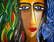 Shakhenabat Kasana Paintings - Woman and Nature by Shakhenabat Kasana