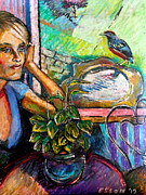Outdoor Still Life Pastels - Woman and Robin by Stan Esson