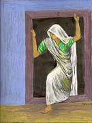 Sari Drawings Prints - Woman at door Print by Shafiq-ur- Rehman