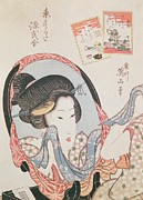 Woodcut Paintings - Woman at her Mirror by Kitugawa Eizan