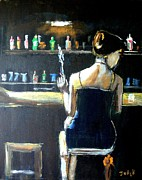Evening Dress Paintings - Woman at the Bar by Judy Kay