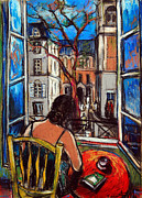 Urban Buildings Pastels Posters - Woman At Window Poster by EMONA Art