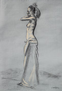 Cloth Drawings Posters - Woman Balancing a Bag on Her Shoulder Poster by Asha Carolyn Young