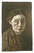 Old Woman Portrait Prints - Woman Bareheaded Print by Vincent Van Gogh