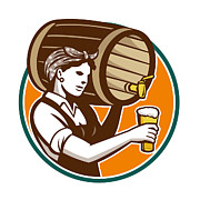 Keg Prints - Woman Bartender Pouring Keg Barrel Beer Retro Print by Aloysius Patrimonio