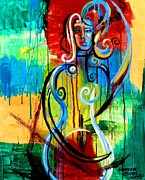 Bright Prints Painting Originals - Woman Bass by Genevieve Esson