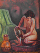 Pouring Paintings - Woman Bathing Art Print by William Cain