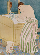 Toilet Framed Prints - Woman bathing Framed Print by Mary Stevenson Cassatt