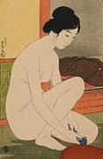 Naked Metal Prints - Woman Bathing Taisho era Metal Print by Goyo Hashiguchi