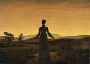 German Art Paintings - Woman before the setting sun by Caspar David Friedrich