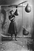 Woman Boxing Workout Print by Underwood Archives