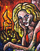 Burning Painting Posters - Woman By The Fire Poster by Kamil Swiatek