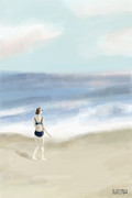 Woman Waiting Digital Art - Woman by the Sea by Beverly Brown Prints