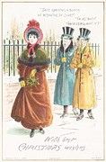 Card Drawings Prints - Woman Carrying Bunch of Mistletoe Print by English School