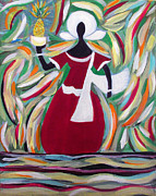 Mediative Paintings - Woman Carrying Pineapple  by Fatima Neumann