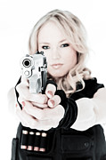 Hot Gun Posters - Woman Defense Poster by Jt PhotoDesign