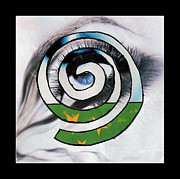 Spirals Mixed Media Posters - Woman Eye Spral Poster by Christine Perry