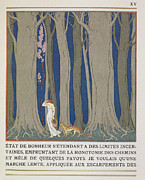 Scared Painting Metal Prints - Woman followed by a Leopard Metal Print by Georges Barbier