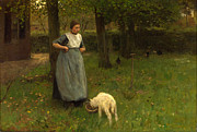 Famous Artists - Woman from Laren with lamb by Anton Mauve