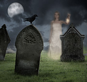Spooky Moon Posters - Woman Haunting Cemetery Poster by Christopher and Amanda Elwell