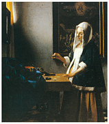 Woman Holding A Balance Print by Johannes Vemeer