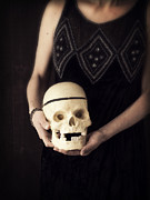 Murder Prints - Woman Holding Skull Print by Edward Fielding