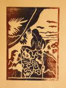 Lino Cut Metal Prints - Woman II a La Gauguin Metal Print by Christiane Schulze