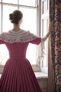 Pleated Skirt Framed Prints - Woman In 18th Century Dress At The Window Framed Print by Lee Avison