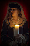 Candle Lit Posters - Woman In A Blue Medieval Dress Holding A Candle Poster by Lee Avison