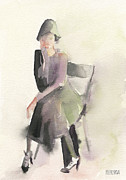 Retro Paintings - Woman in a Cloche Hat Watercolor Fashion Illustration Art Print by Beverly Brown Prints