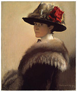 Woman In A Dress Metal Prints - Woman in a Fur Hat Metal Print by Gretchen Woodman Rogers